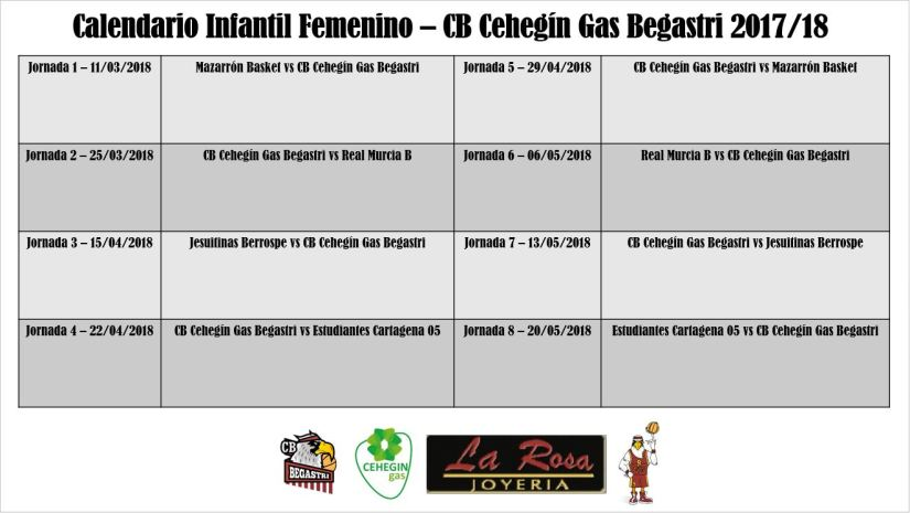 Calendario Infantil Femenino Segunda Fase